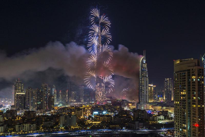 The stunning Burj Khalifa Fireworks